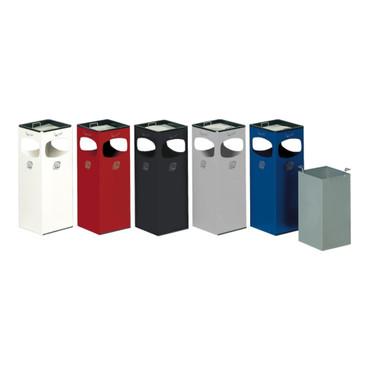 Abfallsammler mit Ascher, 4-fach Einwurf, 28L in 6 Farben