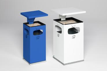 Abfallbehälter mit Ascher und Schutzdach inkl. Inneneinsatz, 38L in 8 Farben – Bild 2