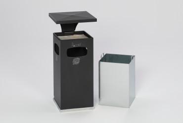 Abfallbehälter mit Ascher und Schutzdach inkl. Inneneinsatz, 38L in 8 Farben – Bild 8