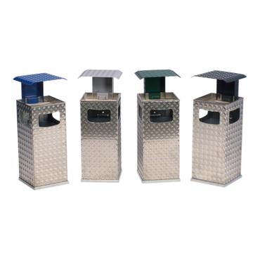 Abfallbehälter mit Ascher und Schutzdach aus Alu-Duett Blech, 38L in 5 Farben – Bild 1