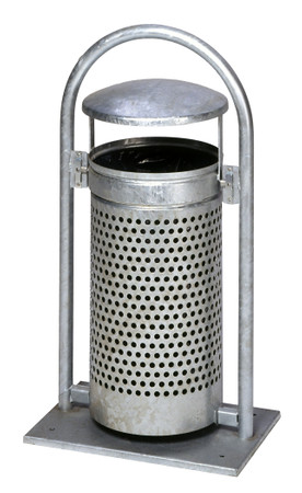 Abfallbehälter mit Schutzdach, Pulverbeschichtet oder Feuerverzinkt, 65L – Bild 1