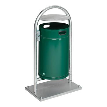 Abfallbehälter mit Rohrbogen und Dach in mehreren Ausführungen, 60L – Bild 1