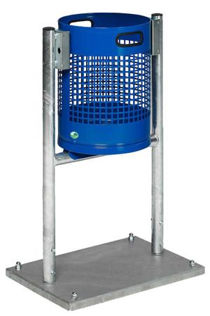 Abfallkorb mit Bodenplatte oder zum Einbetonieren in mehreren Ausführungen, 27L – Bild 1