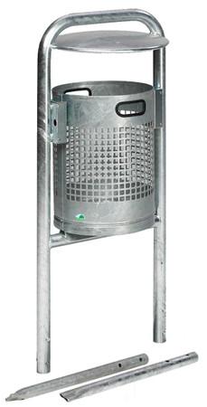 Abfallbehälter mit Rohrbogen und Dach in mehreren Ausführungen, 27L – Bild 1