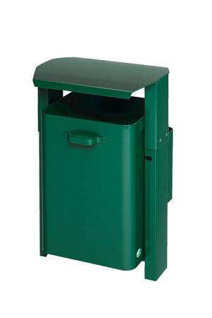 Abfallbehälter mit Dach zur Wand- oder Rohrbefestigung in 3 Ausführungen, 40L – Bild 1