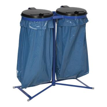Doppel Müllsackständer mit Kunststoffdeckel in 2 Ausführungen – Bild 1