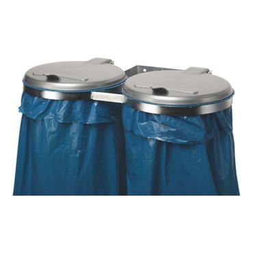 Doppel Müllsackhalter für die Wand mit Kunststoffdeckel in 2 Ausführungen – Bild 1