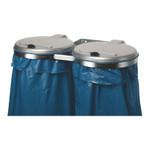 Doppel Müllsackhalter für die Wand mit Kunststoffdeckel in 2 Ausführungen 001
