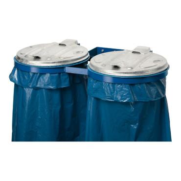 Doppel Müllsackhalter für die Wand mit Metalldeckel in 2 Ausführungen