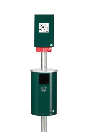 Hundetoilette Set: Standrohr, Kotbeutelspender, Abfallbehälter, 30L in 2 Farben