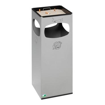 Abfallbehälter mit Ascher aus Edelstahl, 29L – Bild 1