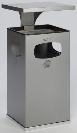 Abfallbehälter mit Ascher und Schutzdach inkl. Inneneinsatz, 72L in 8 Farben – Bild 8