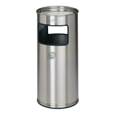 Abfallbehälter mit Ascher aus Edelstahl, 38L – Bild 1