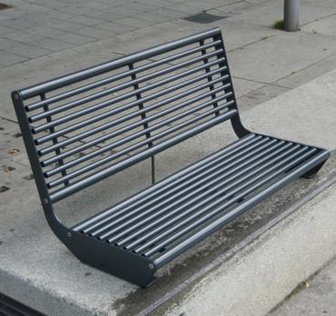 Parkbank MADRID für Sockelbefestigung mit Rückenlehne – Bild 5
