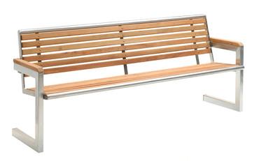 Parkbank HELSINKI aus Holz, V2A-Eldelstahl, gestrahlt – Bild 3