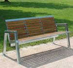 Parkbank BOGOTA aus Edelstahl und Holz