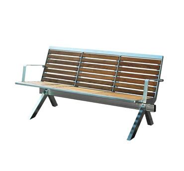 Parkbank MANILA aus Edelstahl und Holz mit Rückenlehne – Bild 1