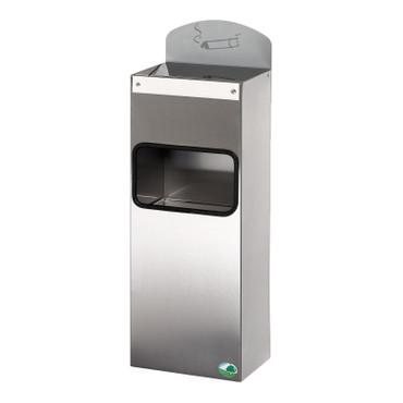 Abfallbehälter mit Ascher und Hinweisschild aus Edelstahl, 4L/0,8L