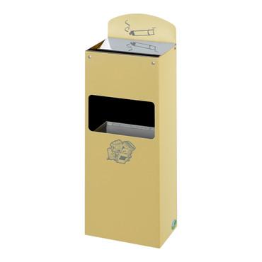 Abfallbehälter mit Ascher und Hinweisschild aus Messing, 4L/0,8L