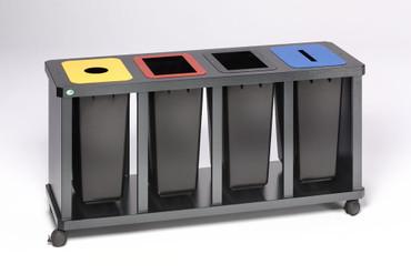 Wertstoff-Sammelstation mit 3 oder 4 Kunststoffbehälter