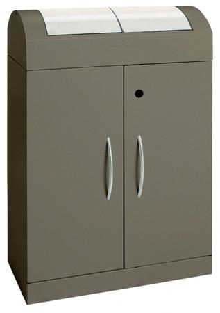 Wertstoffsammler 2-fach mit Einwurfklappen aus Edelstahl, inkl. Innenbehälter, 2x45L – Bild 1