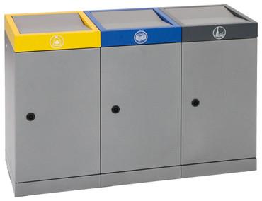 Wertstoffsammelstation 3-fach mit Innenbehälter in 2 Ausführungen – Bild 1