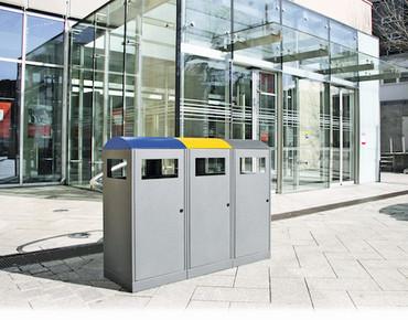 Abfalltrennsystem für Außenbereich, 3-fach Station, inkl. Innenbehälter in 2 Größen – Bild 2