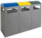Abfalltrennsystem für Außenbereich, 3-fach Station, inkl. Innenbehälter in 2 Größen