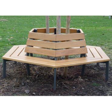 Baumbank BERLIN aus Holz mit Rückenlehne – Bild 2