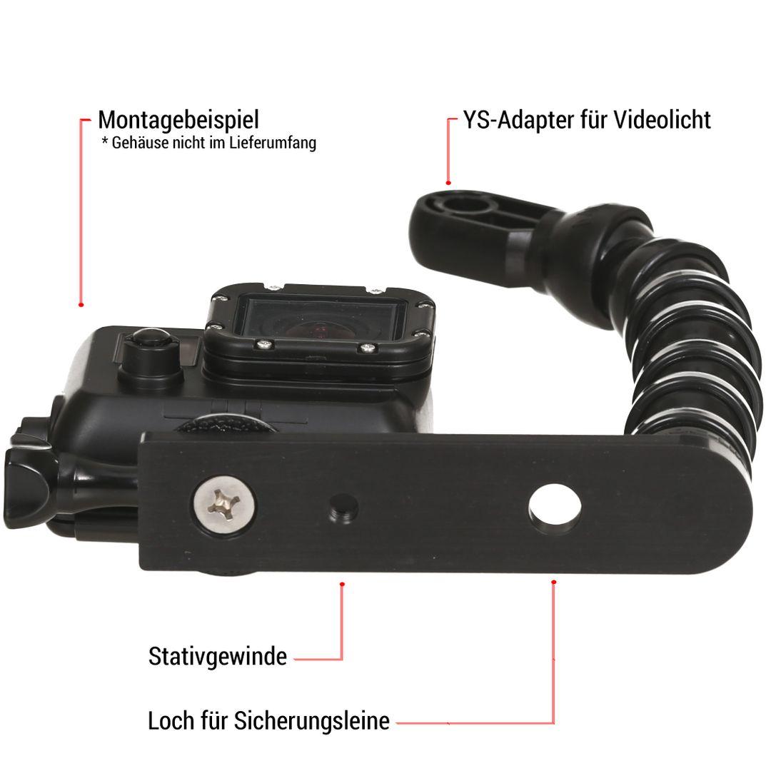 GoPro Grundplatte Mini Set mit Flexarm und YS Anschluss – Bild 3