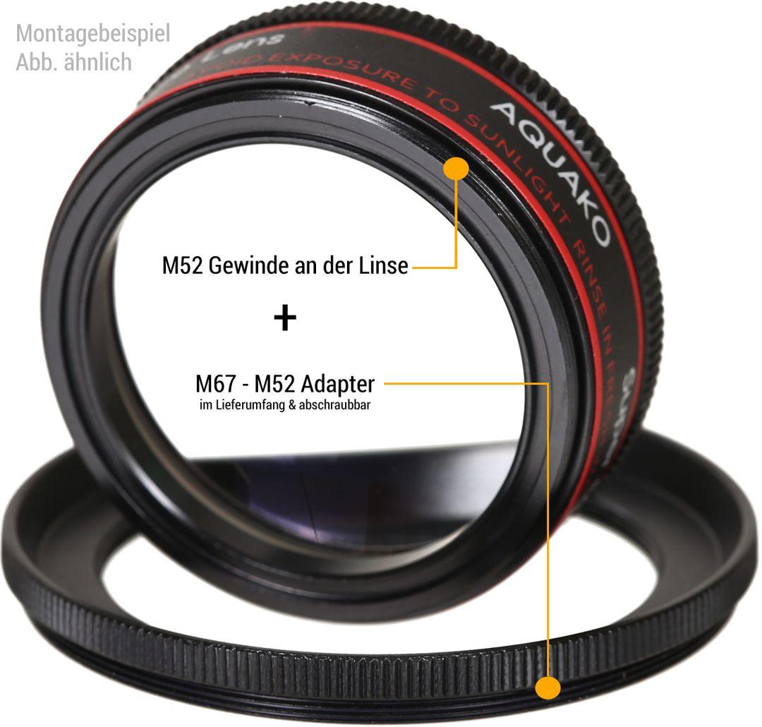 AQUAKO Super Macro II 2 Nahlinse inkl. M6752 Adapter 1.5X +5 – Bild 2