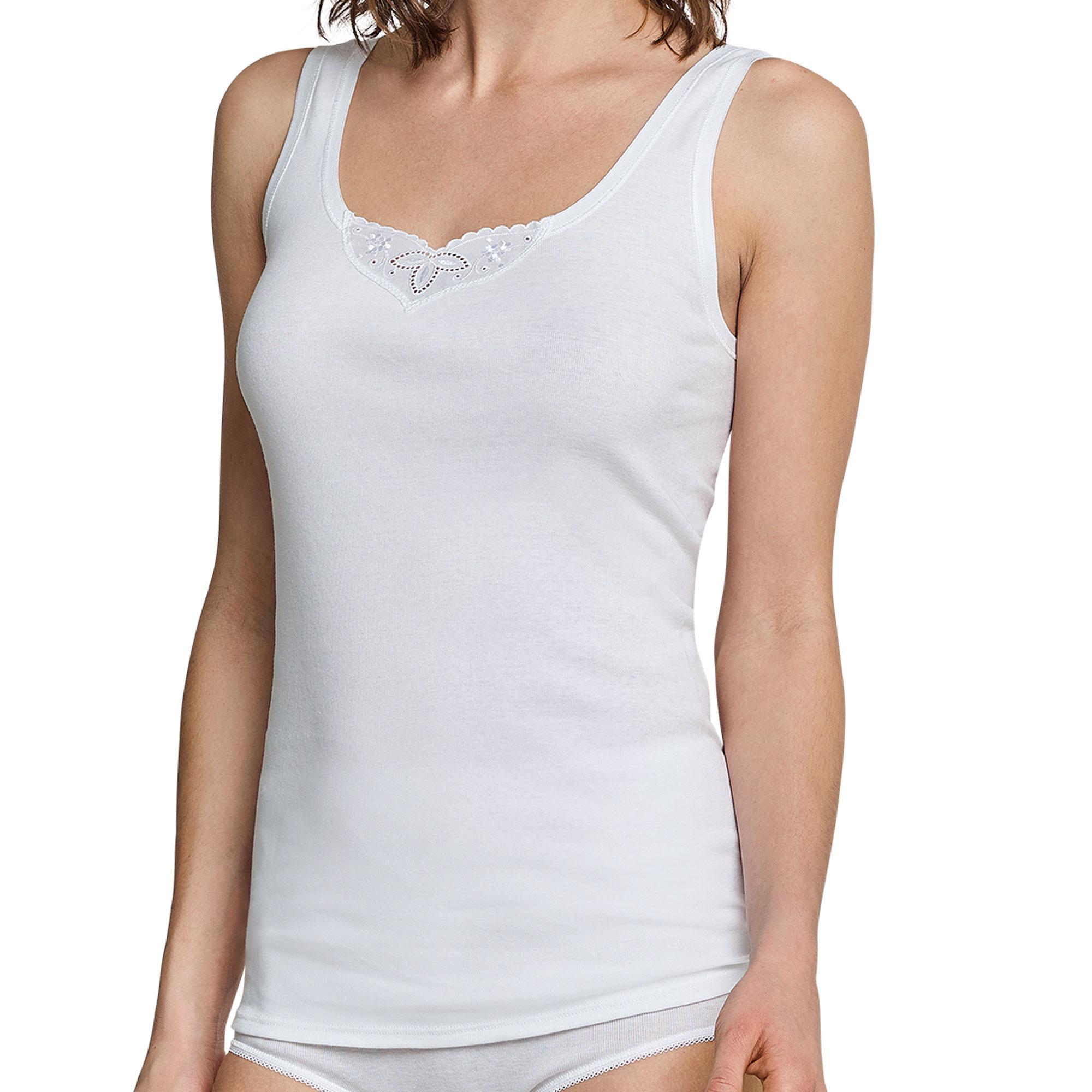 4er Pack Schiesser Damen Trägertops, Tops mit Stickerei, Unterhemden Unterwäsche – Bild 7