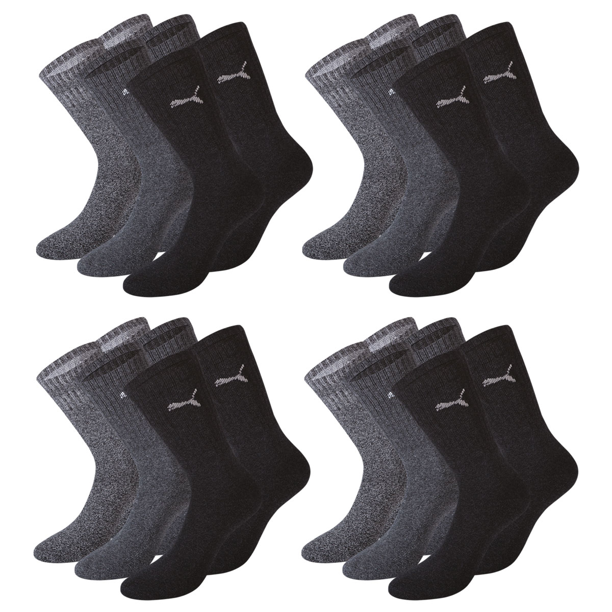 12 Paar Puma Socken, anthrazit / grau