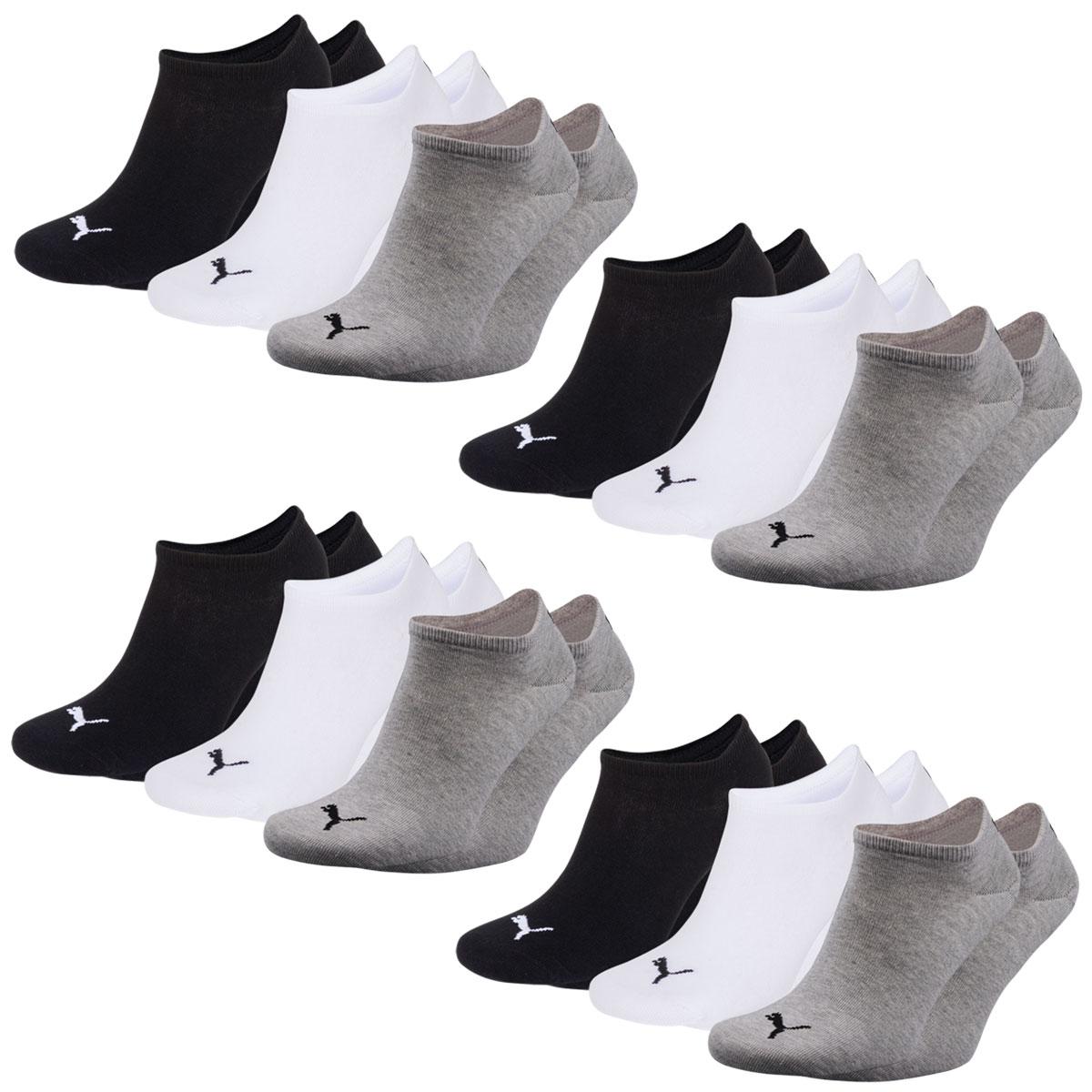 12 Paar Puma Füsslinge, Sneaker, schwarz, weiß, grau