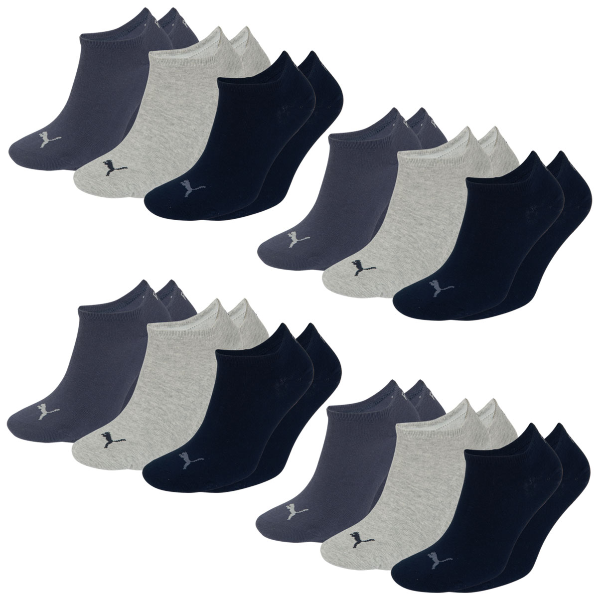 12 Paar Puma Füsslinge, navy/grey/nightshadow blue, Farbe 4