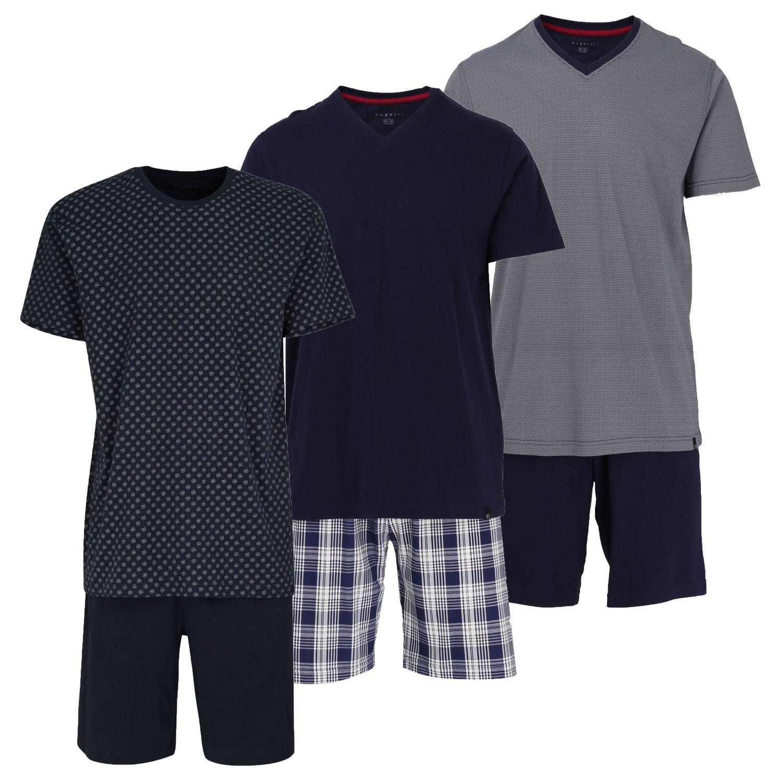 Bugatti Herren Schlafanzug Pyjama Shorty bügelfrei schnell trocknend 56058