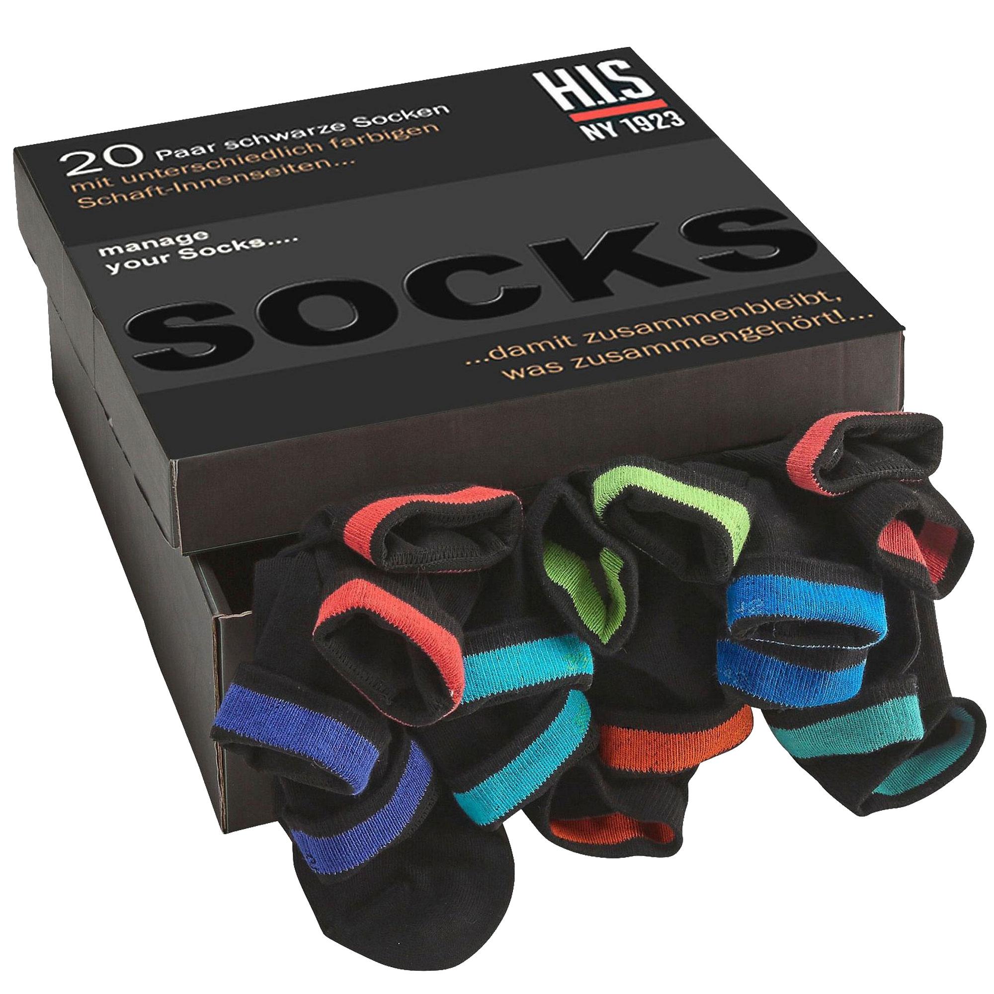 HIS Socken, Unisex, 20 Paar mit farbigem Bündchen – Bild 1