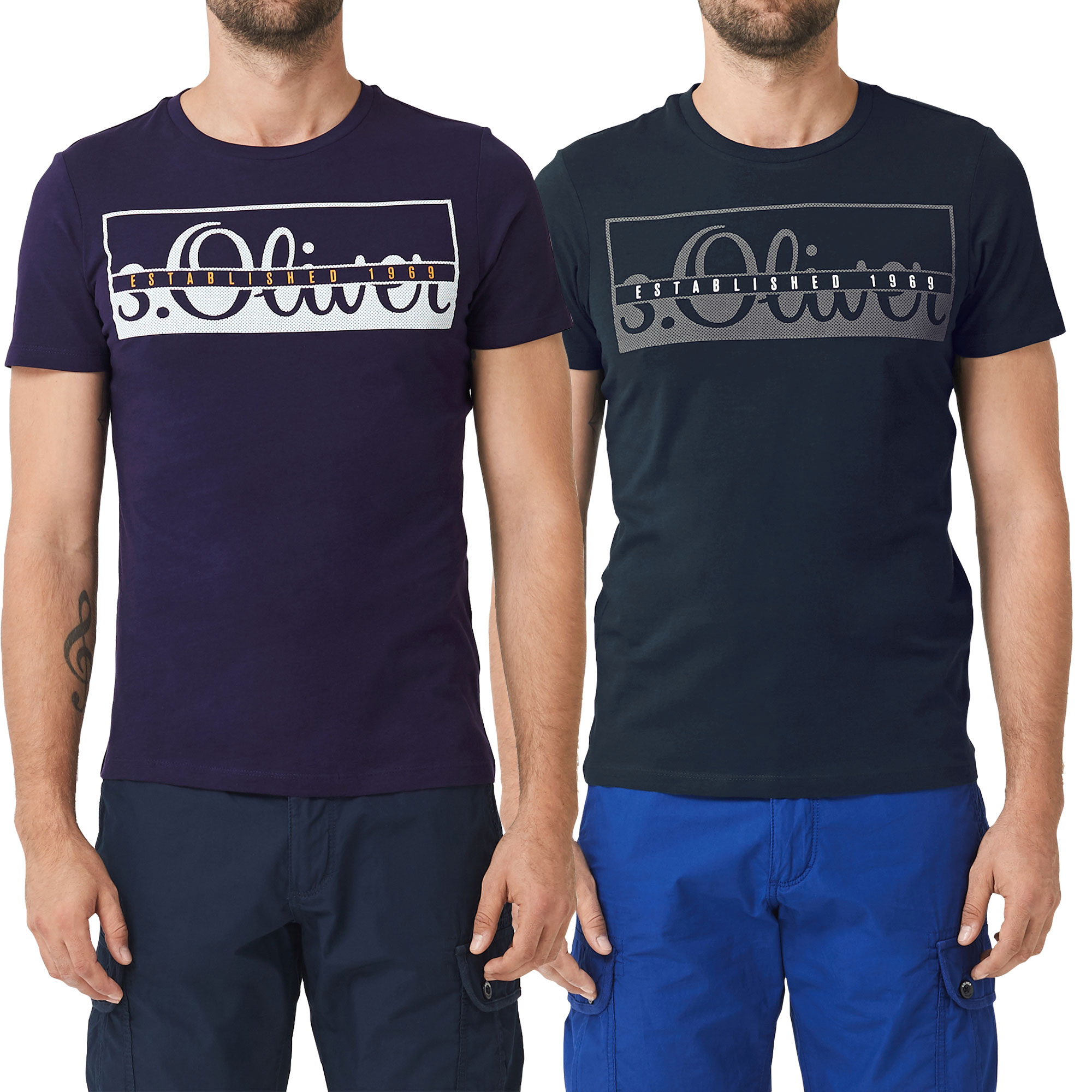 s.Oliver Herren T-Shirt, Rundhals Slim Fit, 2 Stück – Bild 2