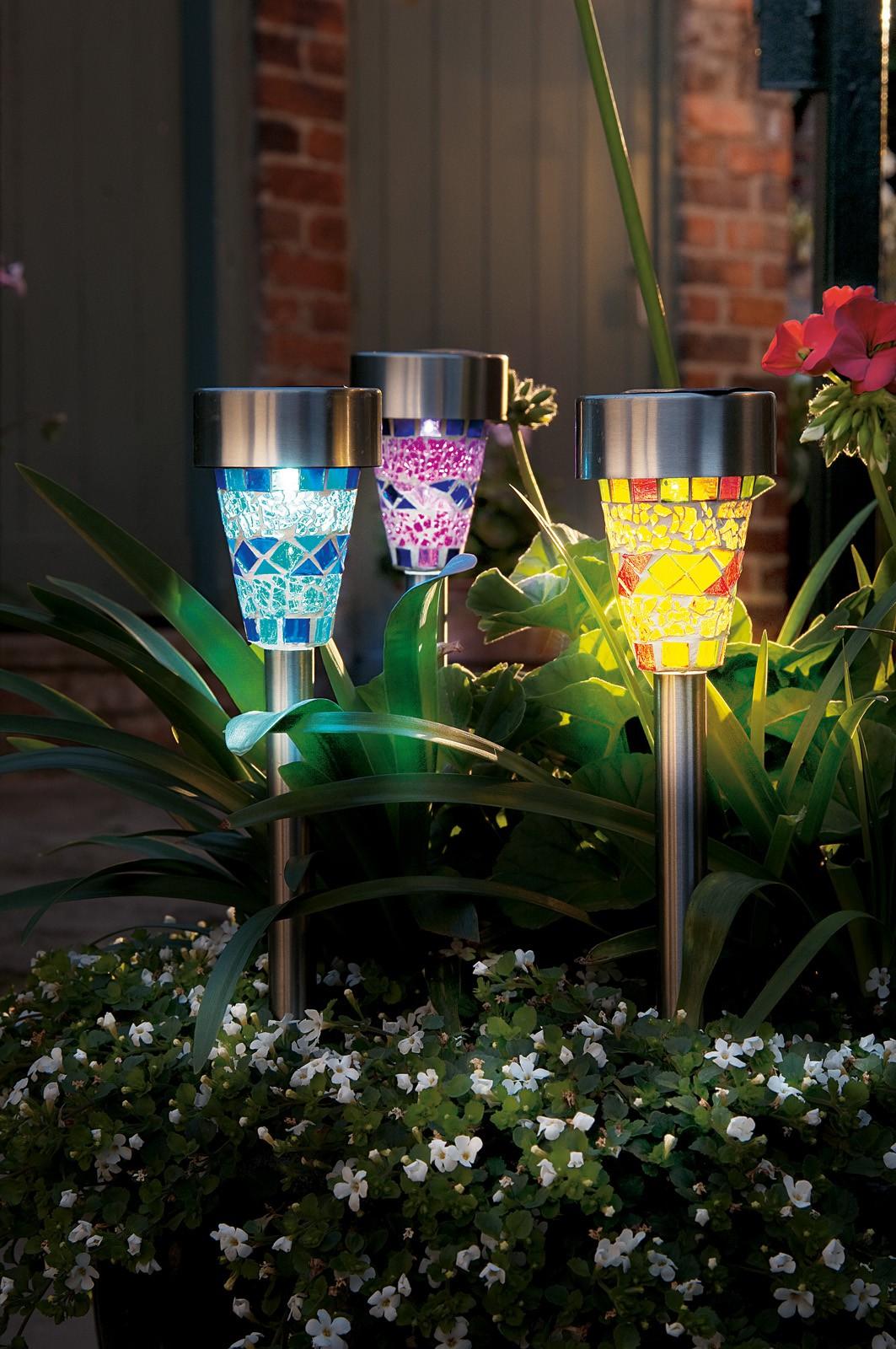 3er set solarleuchten glas edelstahl rostfrei led solar for Gartendekoration glas
