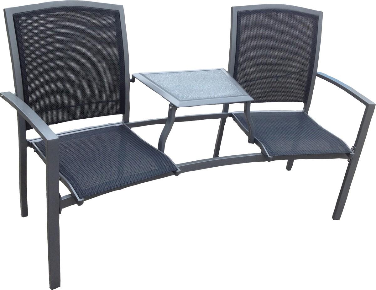 aluminium sitzbank gartenbank 2 sitzer mit tisch gartenm bel alu garten bank garten gartenm bel. Black Bedroom Furniture Sets. Home Design Ideas