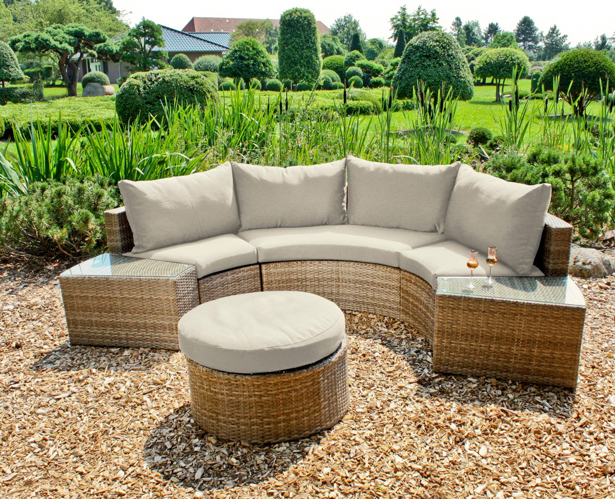 gartensofa gartenlounge sitzgruppe garnitur rund lounge sofa polyrattan alu xxl garten. Black Bedroom Furniture Sets. Home Design Ideas