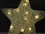Rattan Stern Deko Weihnachten D:25 cm Weihnachtsstern warmweiss innen mit 10 LED