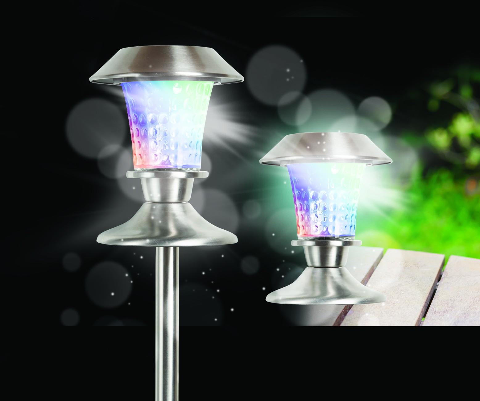 solarleuchte glas solarlampe edelstahl farbwechsel rotation effekt wegeleuchte garten. Black Bedroom Furniture Sets. Home Design Ideas