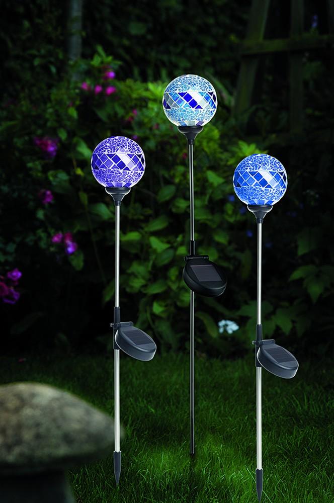 3 solar leuchten set solarlampen mosaik design glas kugel leuchte wetterfest xl garten. Black Bedroom Furniture Sets. Home Design Ideas