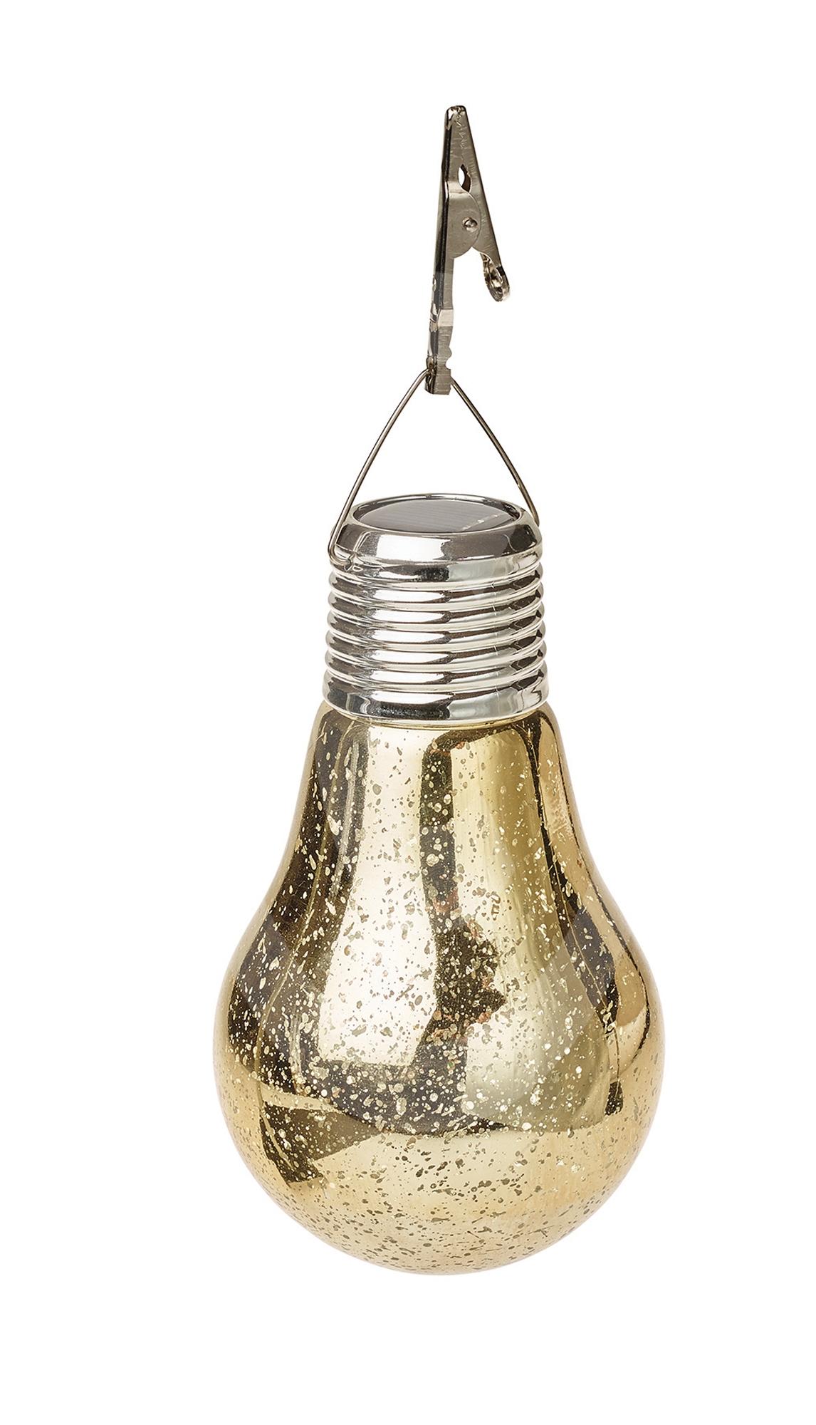 Solarleuchte Hängend Solar Lampe Glas Glüh Birne Vintage Gold Silber