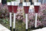Qualitäts Solar LED Stick  Mosaik  exklusive Gartendekoration, 4-er Spar-Set, aus Edelstahl und Kunststoff hergestellt, Top Qualität, tolle Lichteffekte im Dunkeln,