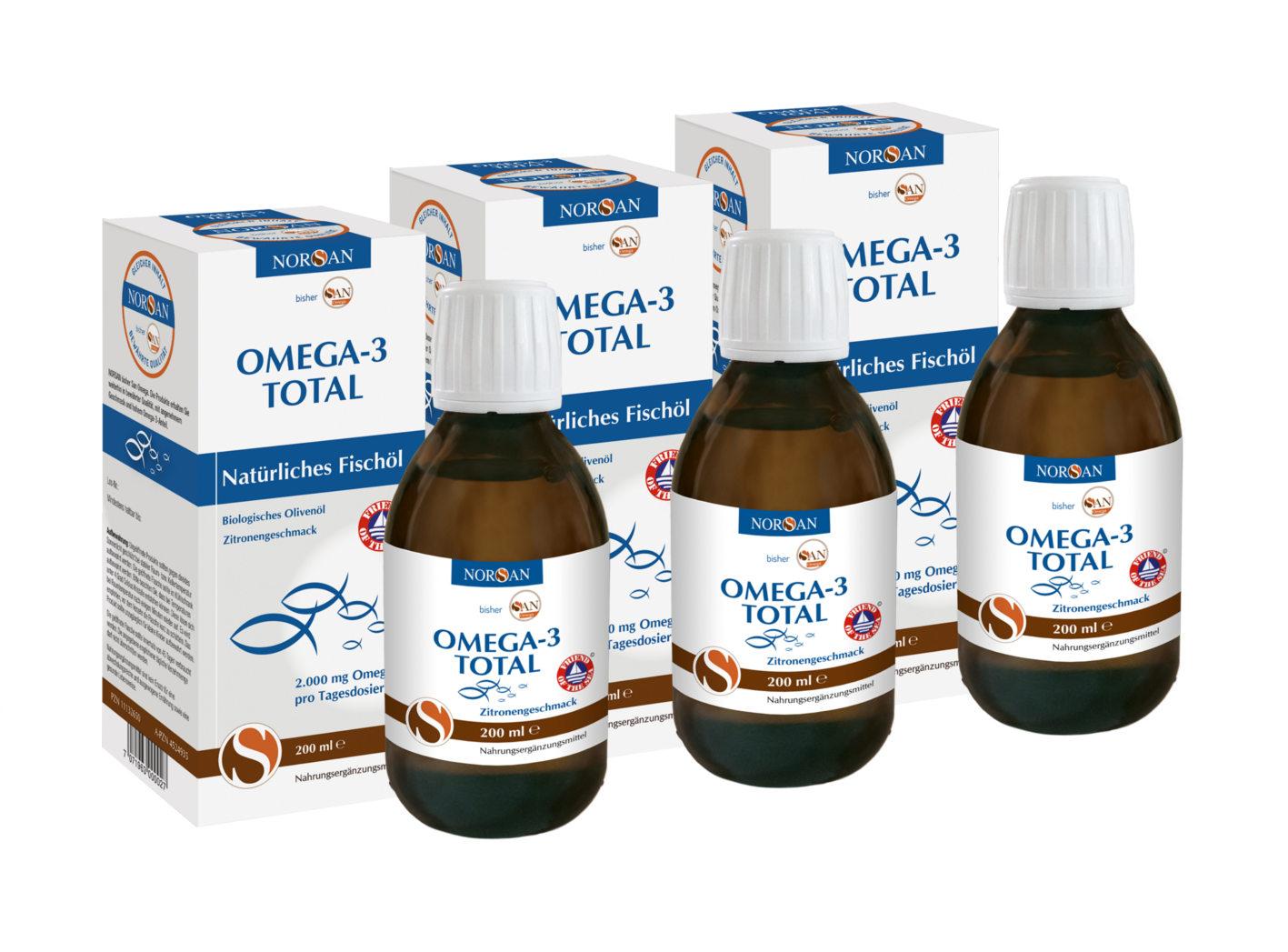 San Omega GmbH NORSAN Omega-3 Fischöl Total 200 ml im günstigen 3er Set