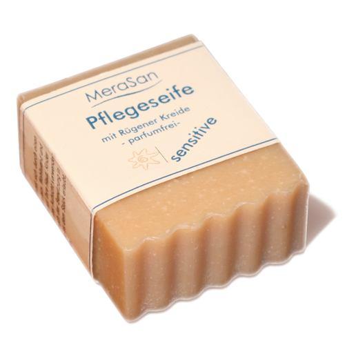 MeraSan Pflegeseife pH 10,4 mit Rügener Kreide - SENSITIVE - 80g-Stück Frischgewicht - kurze Zeit zum Einführungspreis.