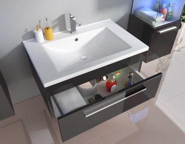 Badmöbelset Unterschrank Waschtisch Gäste-WC 70 cm weiß schwarz – Bild 1