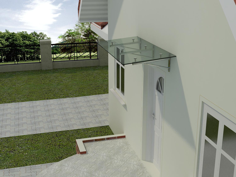 glasvordach elbrus 90 cm tief glasvord cher. Black Bedroom Furniture Sets. Home Design Ideas